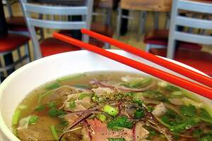 No. 1 Pho from Berni Vietnamese Restaurant is a cornucopia of beef brisket, tendon, tripe and sliced meatballs in beef broth with noodles.