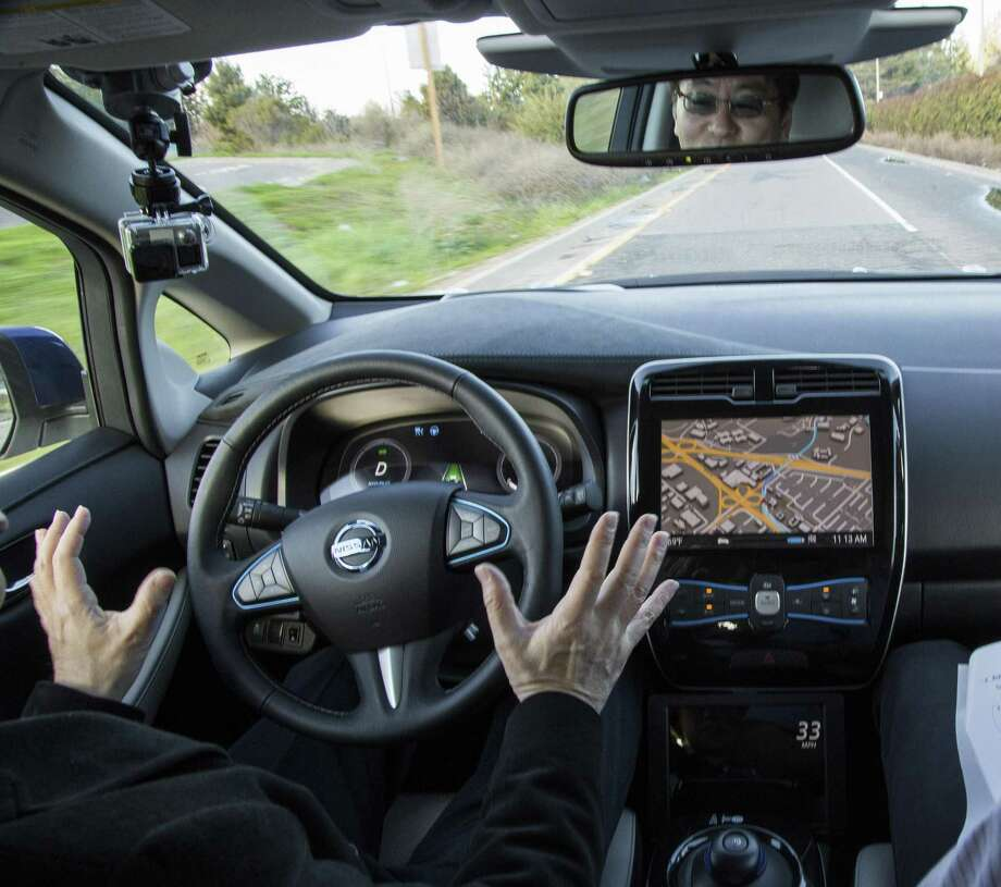 A test ride in a prototype of an autonomous Nissan car, in Sunnyvale, Calif., Jan. 7, 2016. Photo: Elizabeth D. Herman /The New York Times / NYTNS