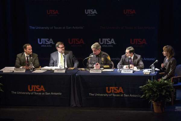 San Antonio Police Chief William McManus speaks during a town hall meeting on sanctuary cities at UTSA in San Antonio, Texas on Jan. 26. 2017. A reader says he was disappointed because there was no one on the panel who was pro-sanctuary cities. Two panelists favor legislation on the issue, two oppose it.