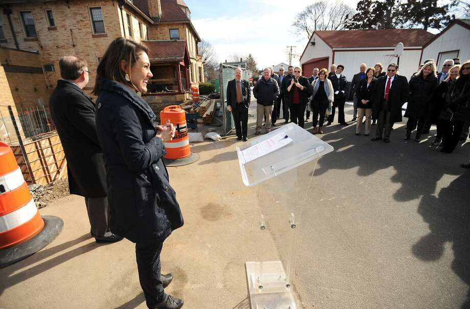 Executive Director Amanda Meeson addresses the groundbreaking ceremony for a major addition to the Sterling House Community Center in Stratford, Conn. on Tuesday, February 21, 2017. Photo: Brian A. Pounds / Hearst Connecticut Media / Connecticut Post