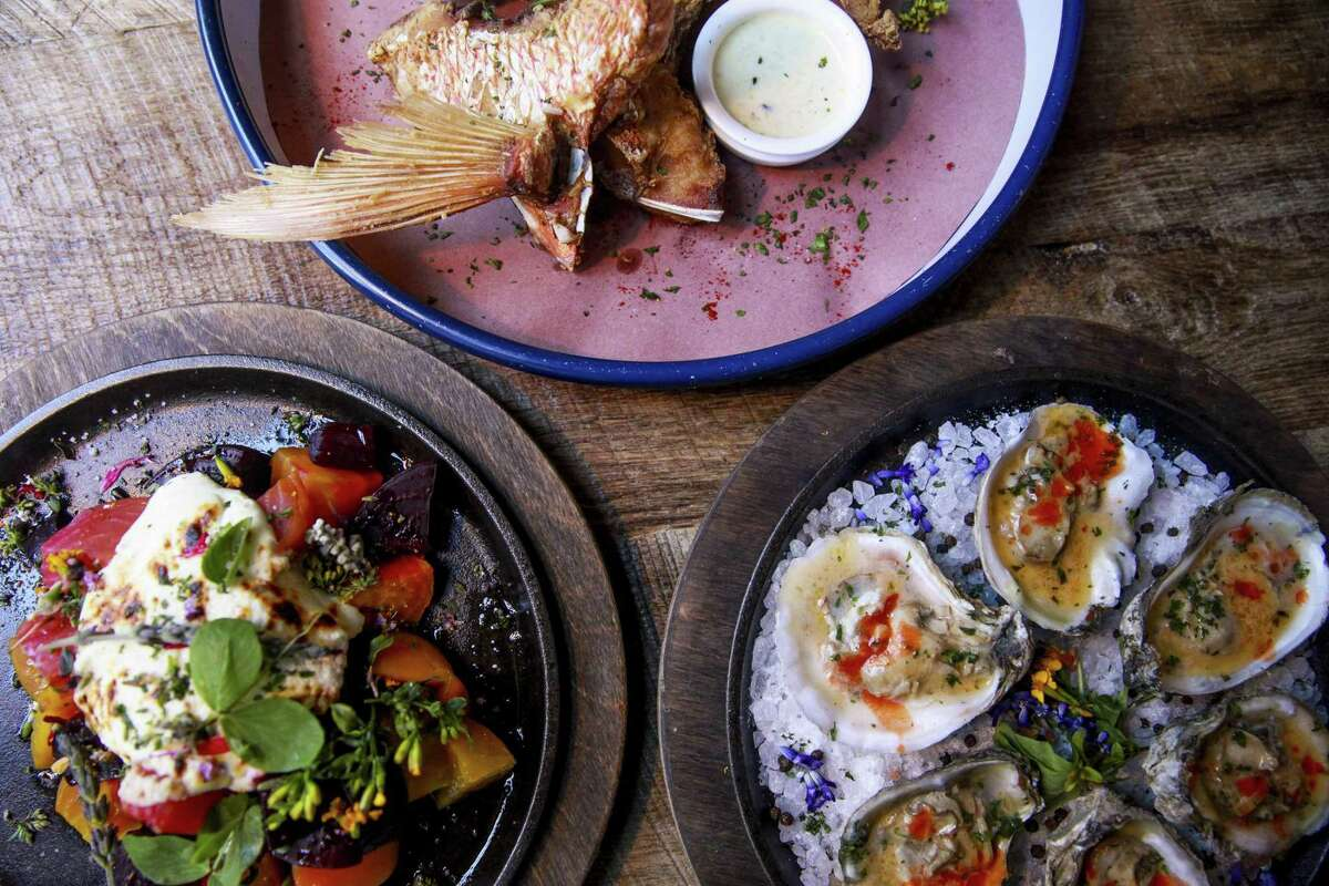 Wood-roasted beets with turnips, snapper throats and wood-broiled oysters at Southerleigh Fine Food & Brewery