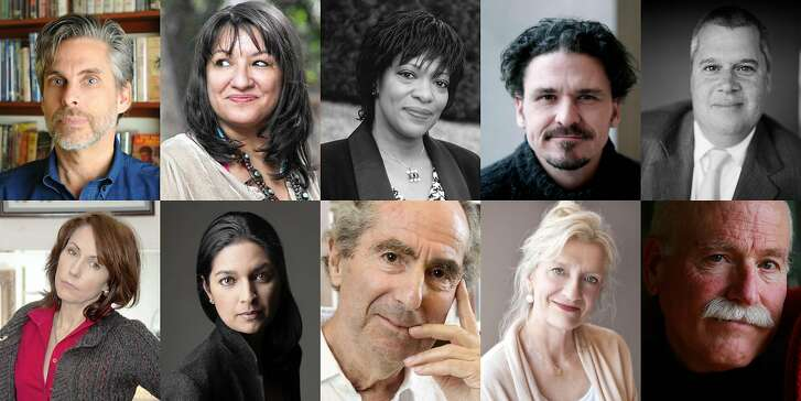 Among the writers and authors who signed the letter are, clockwise from top left, Michael Chabon,�Sandra Cisneros,�Rita Dove,�Dave Eggers,�Daniel Handler,�Mary Karr,�Jhumpa Lahiri,�Philip Roth,�Elizabeth Strout and�Tobias Wolff.