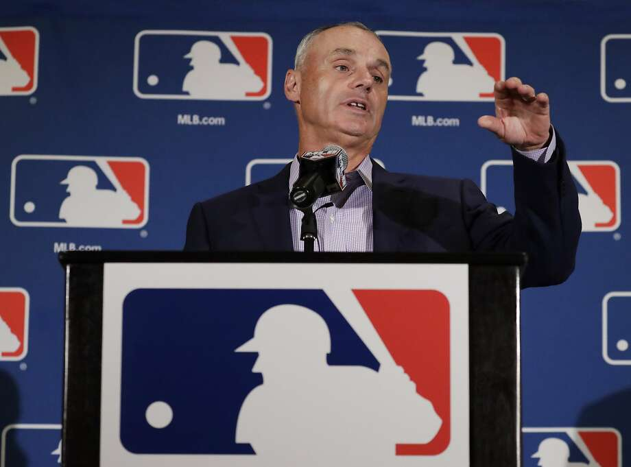 Major League Baseball Commissioner Rob Manfred answers questions at a news conference Tuesday, Feb. 21, 2017, in Phoenix. (AP Photo/Morry Gash) Photo: Morry Gash, Associated Press