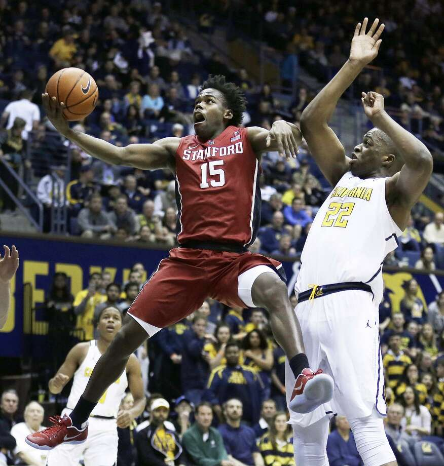 Stanford guard Marcus Allen, shown trying to score despite the defense of Cal's Kingsley Okoroh last month, has averaged 12.3 points in the Cardinal's past nine games. Photo: Ben Margot / AP / Copyright 2017 The Associated Press. All rights reserved.