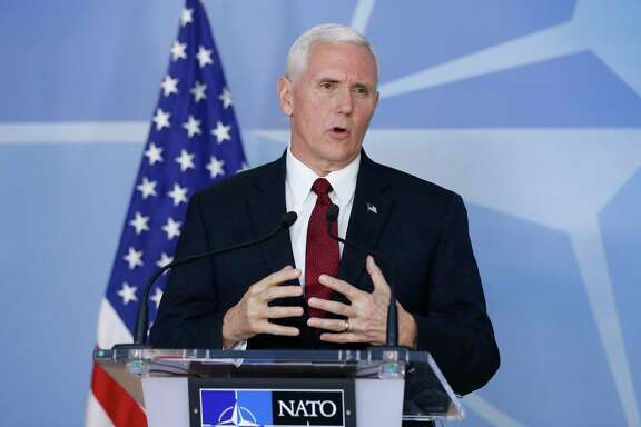 U.S. Vice President Mike Pence addresses a press conference with NATO Secretary General Jens Stoltenberg on Monday, Feb. 20, 2017, after their meeting at NATO headquarters in Brussels, Belgium.  (Ye Pingfan/Xinhua/Sipa USA/TNS)
