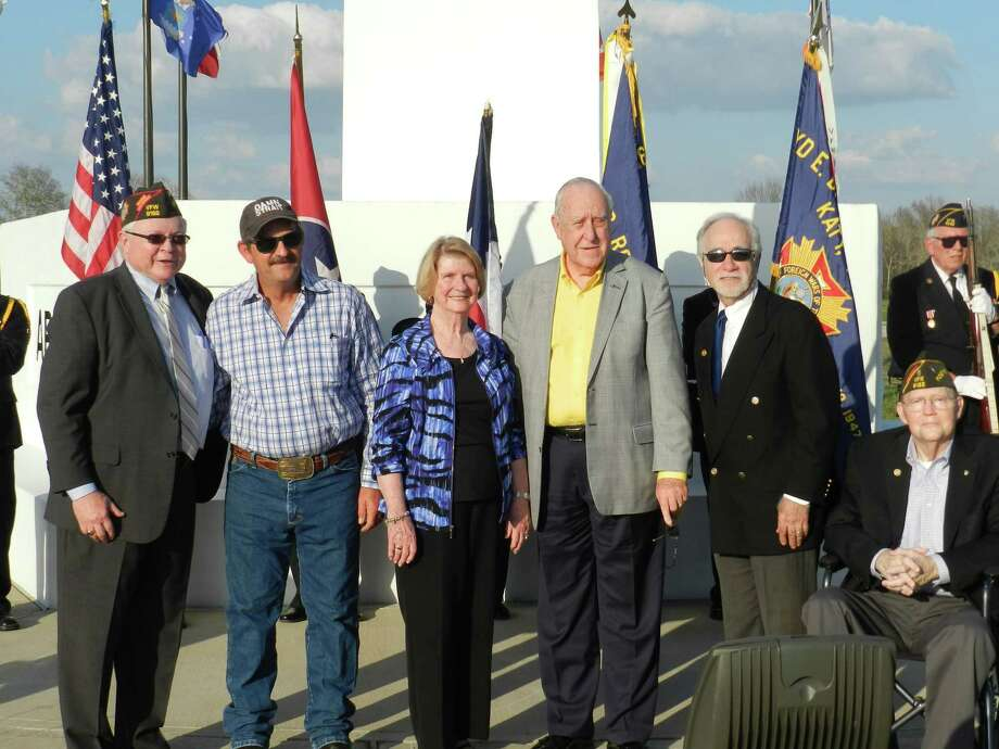 John Germ, president of Rotary International, visited on Feb. 12 the Freedom Park Memorial Tower. From left areKen Burton, Texas VFW JAG and a Katy Rotary Club member;Jeff Pantle, tower general contractor;Judy Germ, the president's wife;Germ;David Frishman, Katy Rotary Club member, and Ed Bland, VFW Post 9182 senior vice commander and Katy Rotary Club member. Photo: Katy Rotary