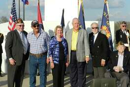 John Germ, president of Rotary International, visited on Feb. 12 the Freedom Park Memorial Tower. From left areKen Burton, Texas VFW JAG and a Katy Rotary Club member;Jeff Pantle, tower general contractor;Judy Germ, the president's wife;Germ;David Frishman, Katy Rotary Club member, and Ed Bland, VFW Post 9182 senior vice commander and Katy Rotary Club member.