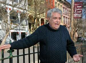 Historian Jack McEneny talks about the different waves of immigration and various ethnic groups who lived in the city's Ten Broeck Triangle during a tour of the neighborhood Wednesday, March 9, 2016, in Albany, NY.  (John Carl D'Annibale / Times Union)