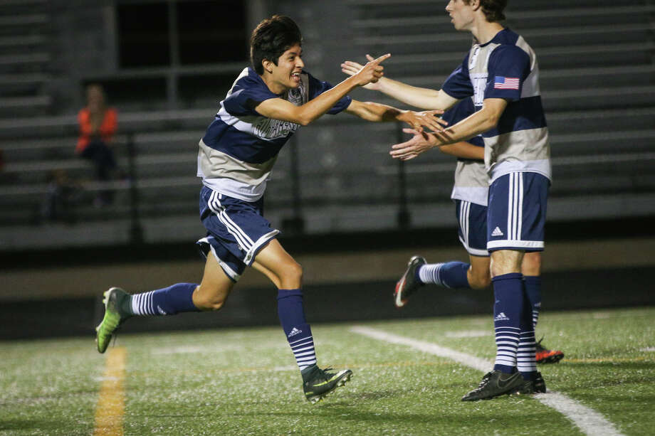 College Park's Andres Avila (11) reacts after scoring a goal during the varsity boys soccer game against Conroe on Tuesday, Feb. 21, 2017, at Moorhead Stadium in Conroe. (Michael Minasi / Chronicle) Photo: Michael Minasi, Staff Photographer / © 2017 Houston Chronicle