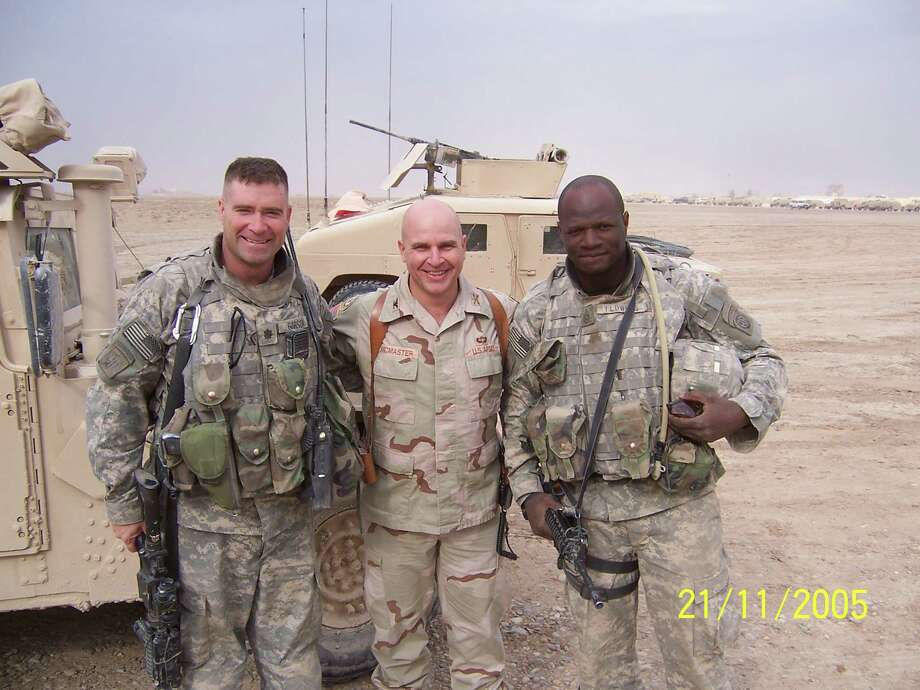 Former U.S. Rep. Chris Gibson, left, posses for a photo in Iraq with Col. H.R. McMaster, center, and Command Sgt. Maj. Richard Flowers, right, in 2005. Lt. Gen. H.R. McMaster is President Trump's pick for national security advisor. (Courtesy Chris Gibson)