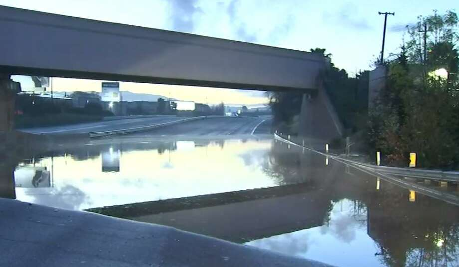 U.S. Highway 101 is closed in both directions in San Jose  because of flooding. As  of 4:40 a.m., Highway 101 is closed in both directions between  Interstate Highway 880 and the Interstate Highway 280 and Interstate  Highway 680 interchange. Photo: KTVU2