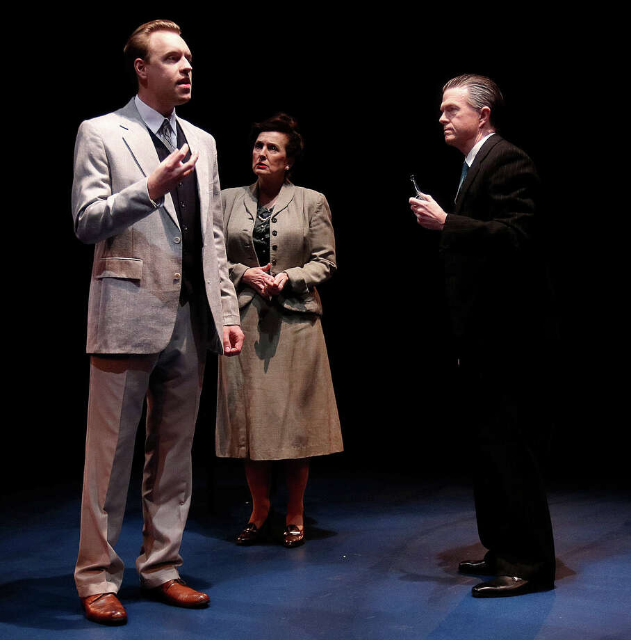 "Pictured are Joel Sandel as Niels Bohr, Celeste Roberts as Margrethe Bohr, and Philip Hays as Werner Heisenberg in Main Street Theater's ""Copenhagen"" now on stage through March 12. Photo: Pin Lim / Copyright Forest Photography, 2016."