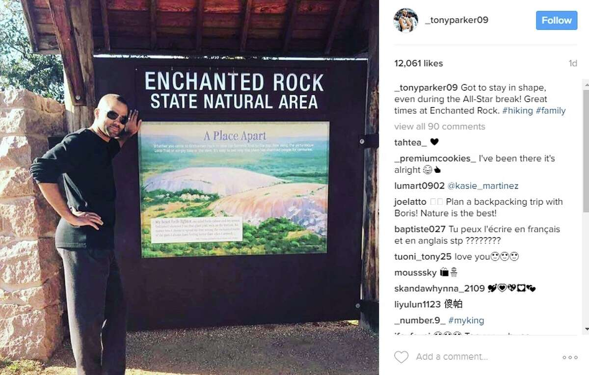 Tony Parker went for a hike @_tonyparker09: Got to stay in shape, even during the All-Star break! Great times at Enchanted Rock. #hiking #family