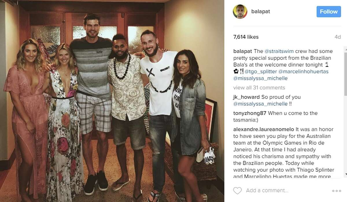 And caught up with former Spur Tiago Splitter in the process @balapat: The @straitswim crew had some pretty special support from the Brazilian Bala's at the welcome dinner tonight @tgo_splitter @marcelinhohuertas @missalyssa_michelle