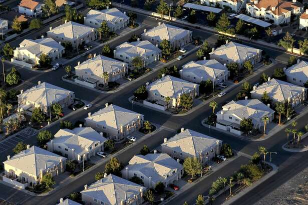 A 2009 aerial photo of a neighborhood in Las Vegas.