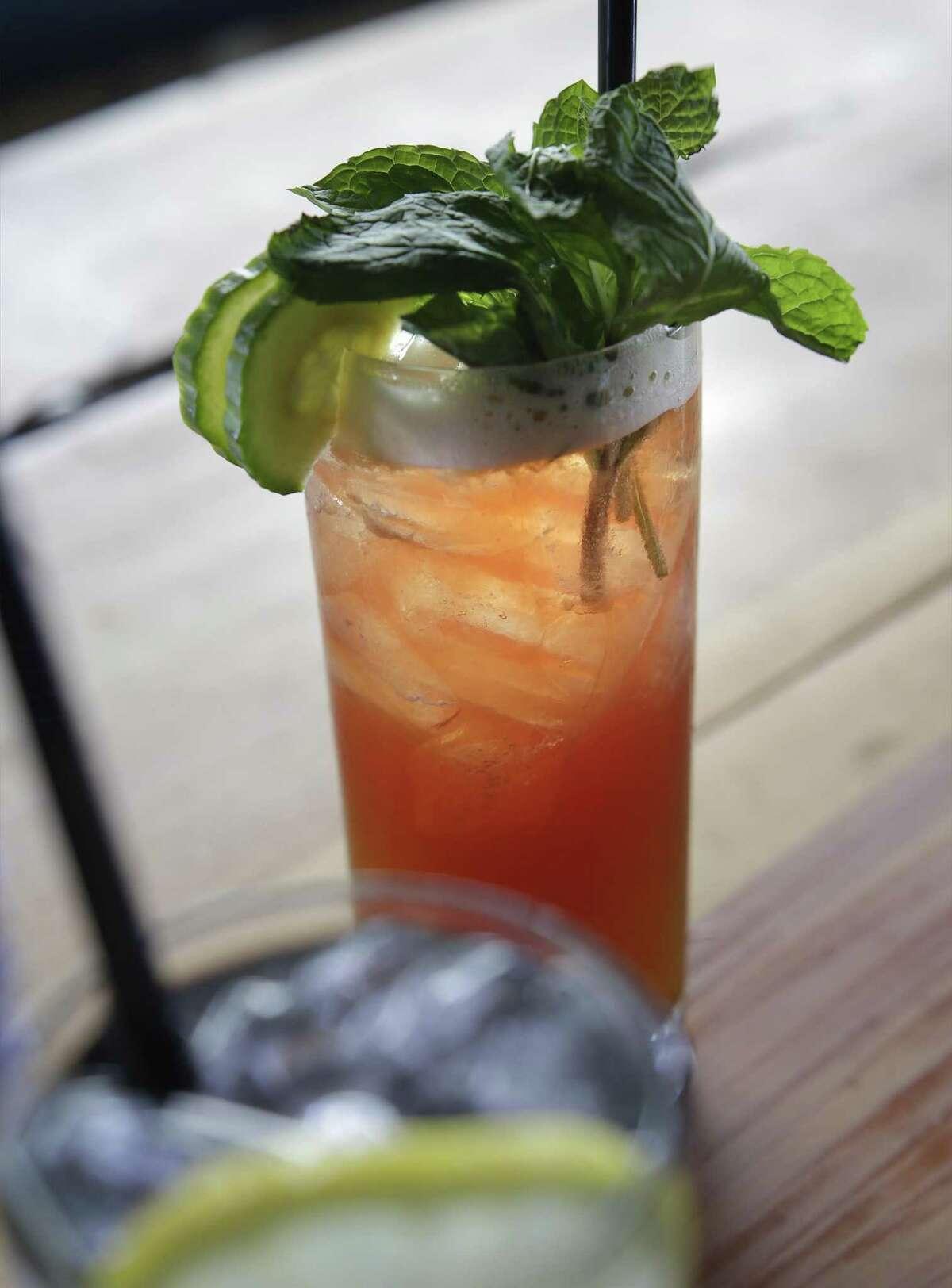 The Fixed Element cocktail with Pimm's No. 1, raspberry, cucumber, jasmine-hibiscus kombucha, lemon and sumac.