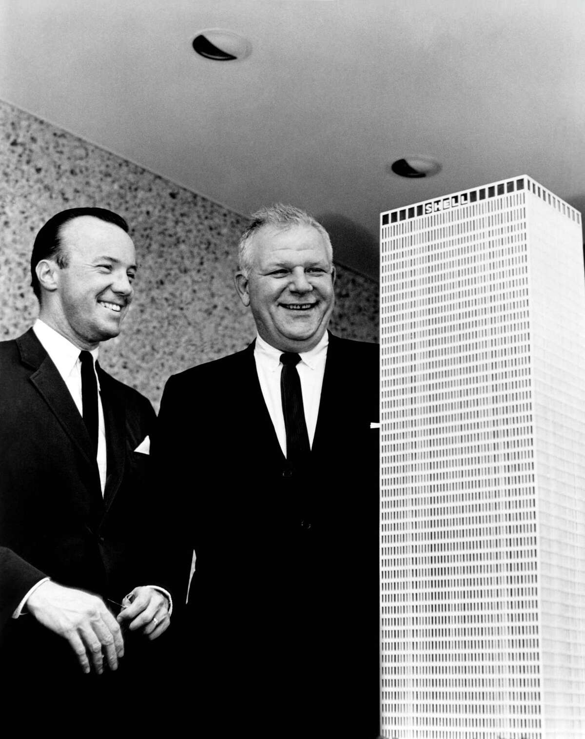 Gerald D. Hines, with E.G. Christianson and a model of One Shell Plaza. Christianson was the head of Shell's Houston operations.