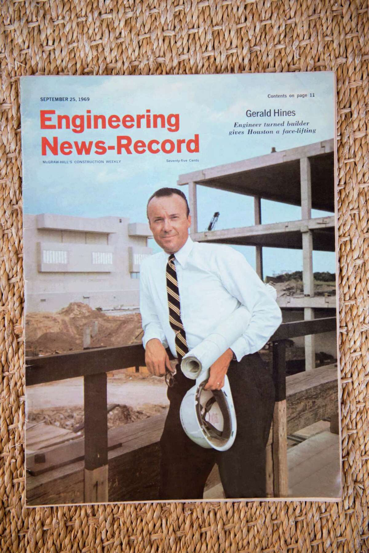 Gerald D. Hines was featured on the cover of Engineering News-Record in 1969, the same year his firm built One Shell Plaza, still the tallest lightweight concrete building in the world.