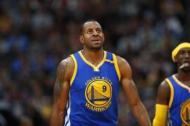 Golden State Warriors forward Andre Iguodala (9) in the second half of an NBA basketball game Monday, Feb. 13, 201, in Denver. The Nuggets won 132-110. (AP Photo/David Zalubowski)