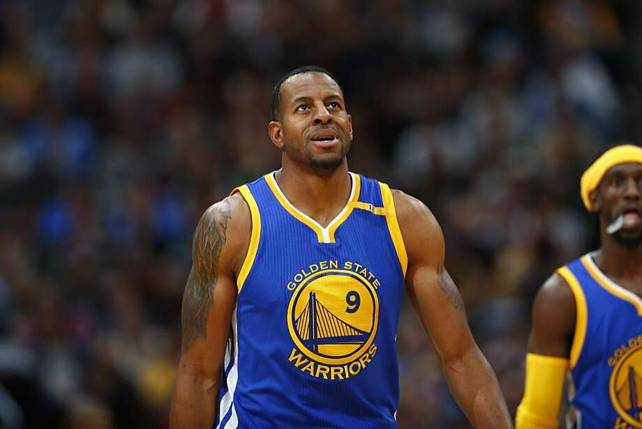 Golden State Warriors forward Andre Iguodala (9) in the second half of an NBA basketball game Monday, Feb. 13, 201, in Denver. The Nuggets won 132-110. (AP Photo/David Zalubowski) Photo: David Zalubowski, Associated Press