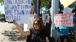 Protesters at Lakeside Country Club after not being allowed in  town hall by Rep. John Culberson.