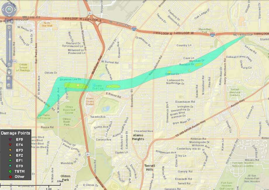 "@NWSSanAntonio: ""The Ridgeview/Alamo Heights tornado has been upgraded to an EF2 with maximum sustained winds of 120 MPH. Here is a detailed map of the path."" Photo: Courtesy/National Weather Service"