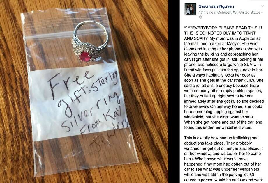 Savannah Nguyen posted that her mother may have been the target of a trap in Wisconsin last July when someone left this ring on her windshield. Photo: Facebook Screenshot