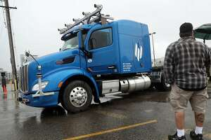 Embark self-driving technology test semi-trailer truck in San Francisco, Calif., on Tuesday, February 21, 2017.