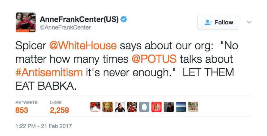 Tweets from the Anne Frank Center about the Trump administration. Photo: Screenshot Via Twitter