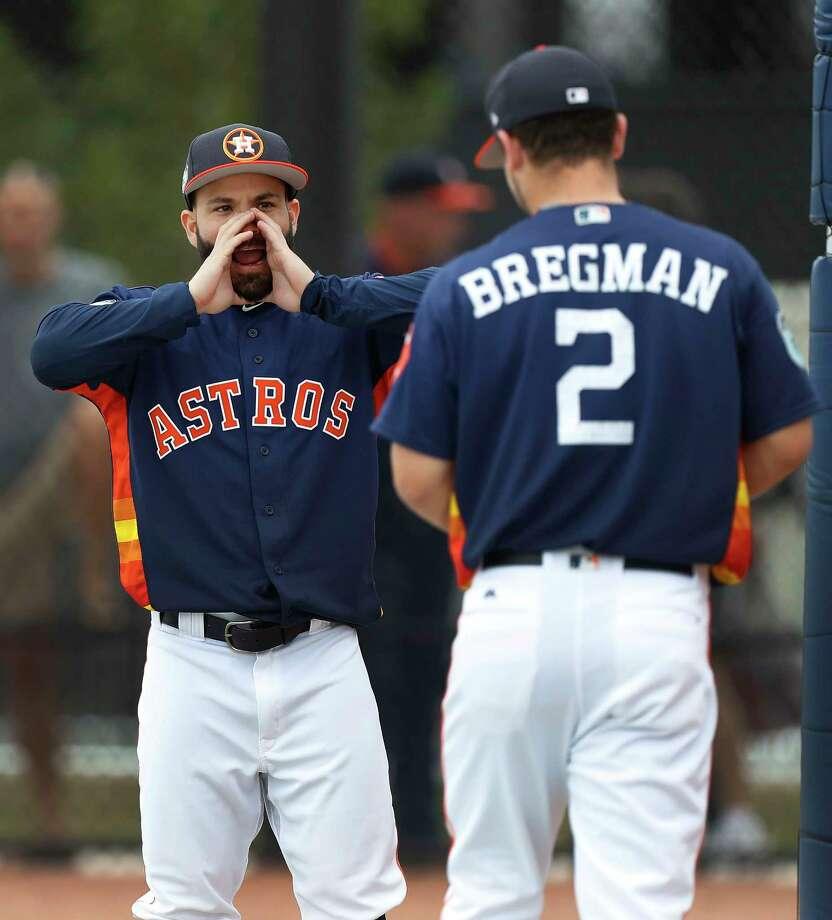 Houston Astros Jose Altuve (27) messes around with Alex Bregman (2) during spring training at The Ballpark of the Palm Beaches, in West Palm Beach, Florida, Wednesday, February 22, 2017. Photo: Karen Warren, Houston Chronicle / 2017 Houston Chronicle