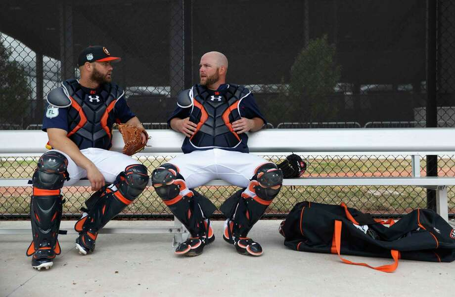 Astros manager A.J. Hinch insisted the pairings of catchers Evan Gattis and Brian McCann with the starting rotation are not rigidly defined. Photo: Karen Warren, Houston Chronicle / 2017 Houston Chronicle