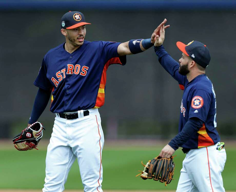 The dynamic duo of Carlos Correa and Jose Altuve give the Astros a second base/shortstop tandem that is unrivaled in 2018.Houston Chronicle baseball editor Steve Schaeffer ranked the 12 best middle-infield duos in MLB history based on the following criteria:1. Total Wins Above Replacement (as measured by baseball-reference.com achieved by each 2B/SS pair during its tenure as a team's primary tandem;2. Average annual WAR for the duo;3. Peak WAR average, determined by the average of the duo's four best years (or three in the case of Jose Altuve/Carlos Correa, since they've been together for only that long);4. Balance, reflected in the percentage each player contributed to the WAR total, with 50/50 the best split possible;5. Championships/pennants won.Click through the gallery to see where Correa and Altuve stand in Schaeffer's rankings of MLB's best middle-infield duos of all time. Photo: Karen Warren, Houston Chronicle / 2017 Houston Chronicle