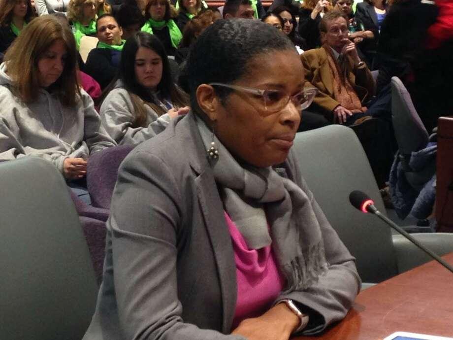 Bridgeport Interim Schools Superintendent Aresta Johnson testifies before Appropriations Committee at State Legislative Office Building Photo: Linda Conner Lambeck / Linda Conner Lambeck