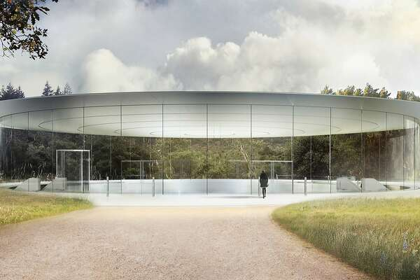 This image provided by Apple shows the Steve Jobs Theater at Apple Park in Cupertino, Calif. Apple announced that its new headquarters will open for employees in the spring 2017 and will include the theater named for late company co-founder. (Apple via AP)