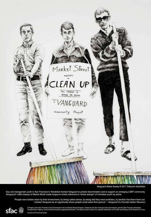 """Vanguard Sweep,"" left, ""Mother and Child, Free Huey Rally, De Fremery Park, Oakland (after Ruth-Marion Baruch)"" and ""Digger"" are part of the poster series. Photo: Deborah Aschheim"