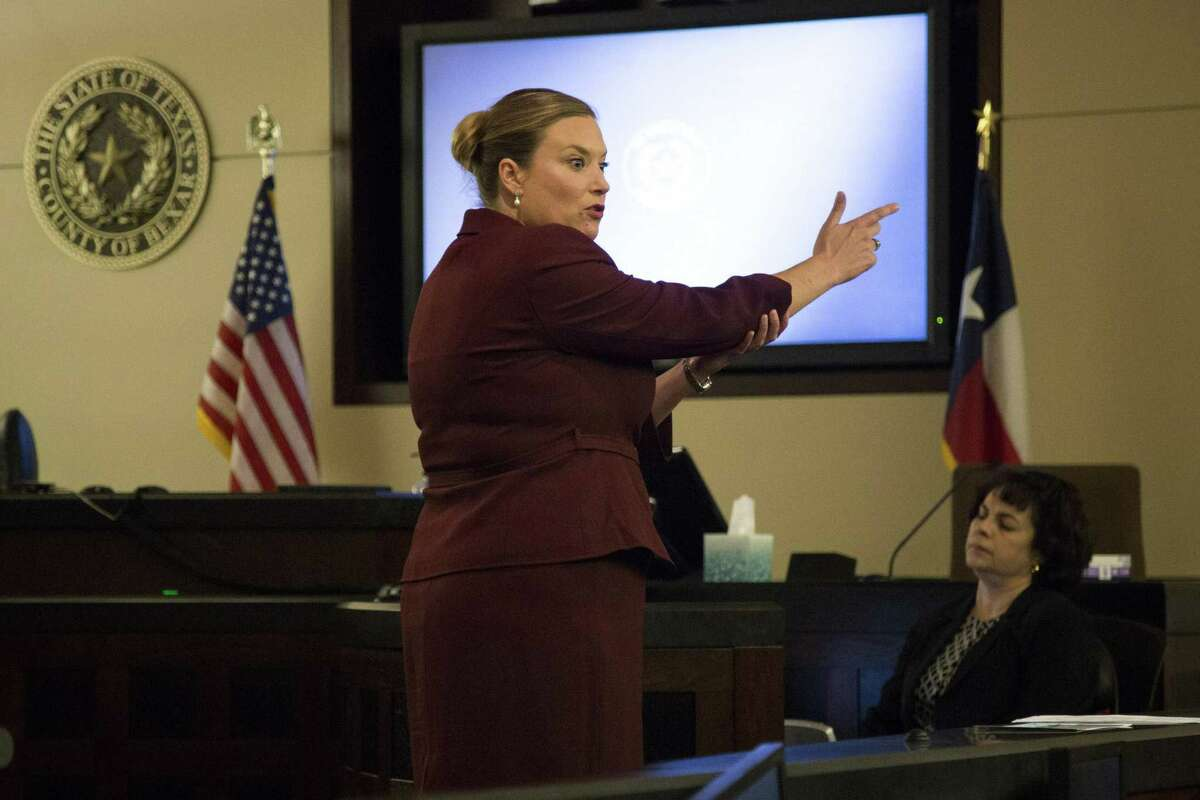 Prosecutor Jessica Schulze speaks during closing arguments for Darnell Rogers?' attempted capital murder trial at Bexar County 227th Criminal District Court in San Antonio, Texas on February 22, 2017. Ray Whitehouse / for the San Antonio Express-News