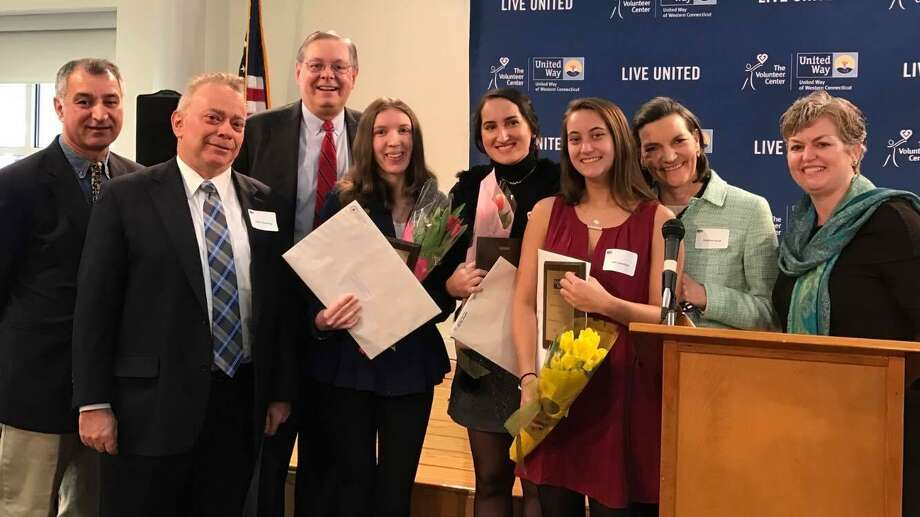 Victoria Koenigsberger, of Wilton, (fourth from left) was named an Outstanding Youth Volunteer by United Way of Western Connecticut on Jan. 27. Also pictured (from left to right): state Sen. Carlo Leone, D-Stamford; Stamford Community Council member Sandy Weinberg; Stamford Mayor David Martin; Building One Community youth leaders and fellow awardees Mariana Grandmont and Carli Levethan; Building One Community Executive Director Catalina Samper-Horak; and United Way of Western Connecticut Chief Executive Officer Kim Morgan. Photo: Contributed Photo