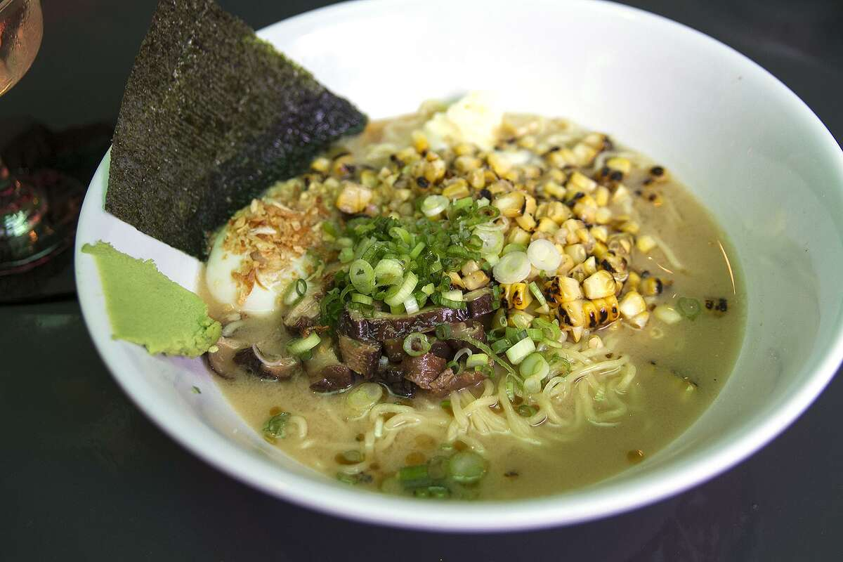 Double miso ramen with corn, shiitake mushroom, burnt garlic oil, soft egg and wasabi