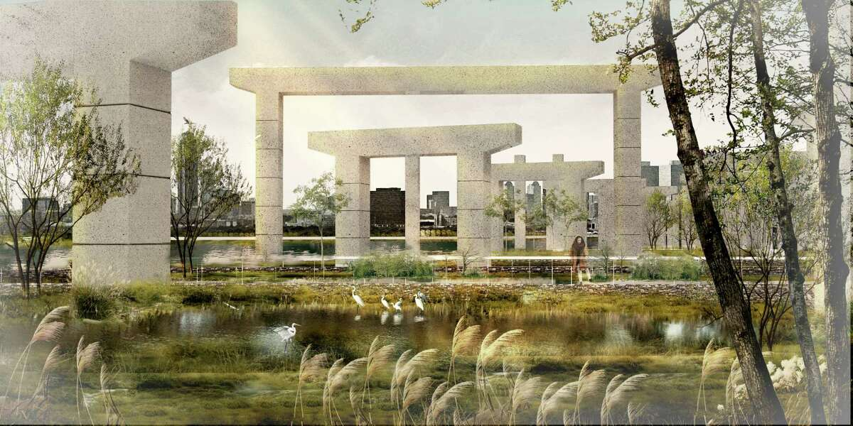 A rendering of an imagined eco-park underneath freeway remnants east of downtown.
