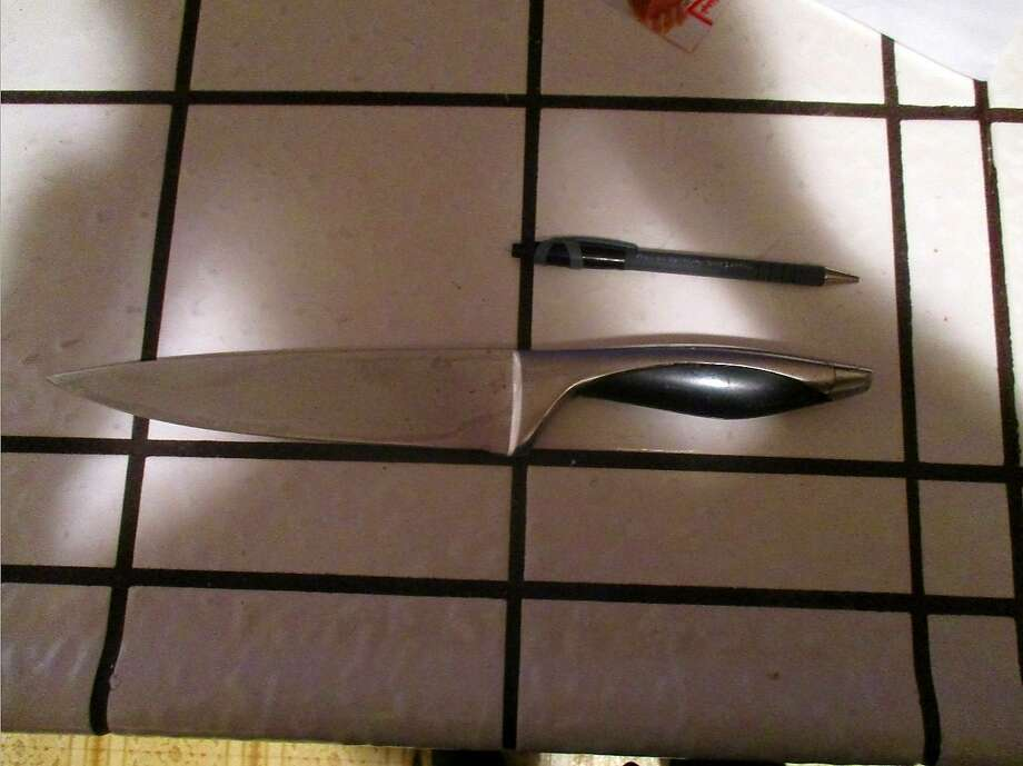 A man brandished this large knife in an encounter with San Mateo County sheriff's deputies was talked into surrendering. Photo: San Mateo County Sheriff's Office