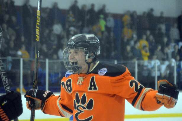 Edwardsville senior defenseman Rory Margherio celebrates his goal he scored against CBC on Feb. 4 at the Affton Ice Rink. The Tigers and CBC Cadets will meet in a semifinal series, which starts tonight and concludes Saturday.