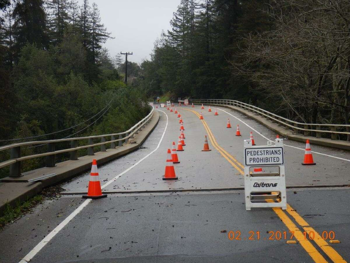 The Pfeiffer Canyon Bridge on Highway 1 in Big Sur, Calif., is damaged due to a hillside that's slumping after weeks of heavy rain. Photo taken Feb. 21, 2017