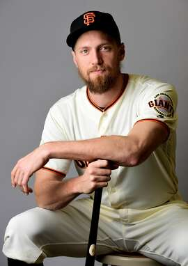 SCOTTSDALE, AZ - FEBRUARY 20:  Hunter Pence #8 of the San Francisco Giants poses for a portait during a MLB photo day at Scottsdale Stadium on February 20, 2017 in Scottsdale, Arizona.  (Photo by Jennifer Stewart/Getty Images)