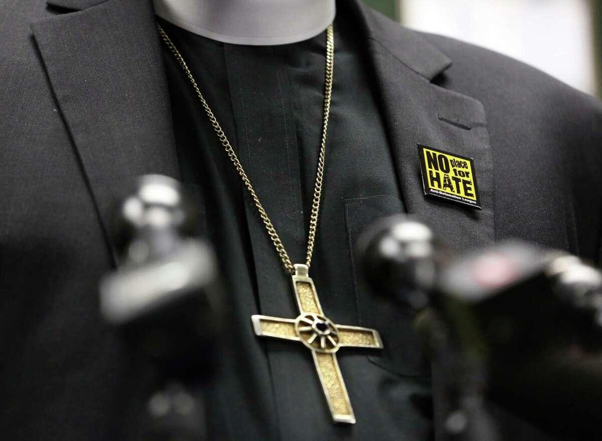 Bishop Michael Rinehart, of Texas-Louisiana Gulf Coast Synod, Evangelical Lutheran Church in America, wears a