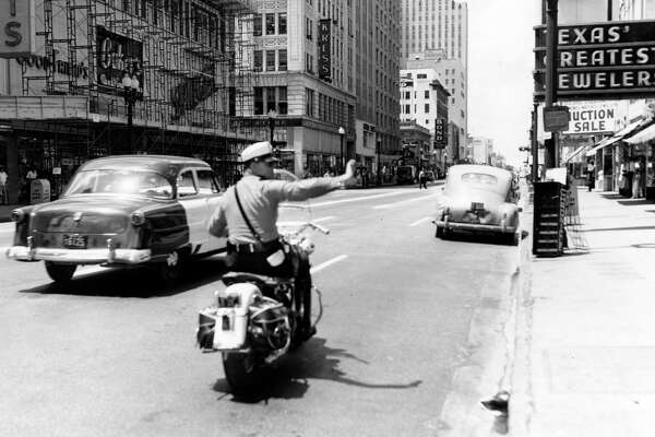 Civil Defense drill, June 14, 1954. Looking south from Main at Texas.