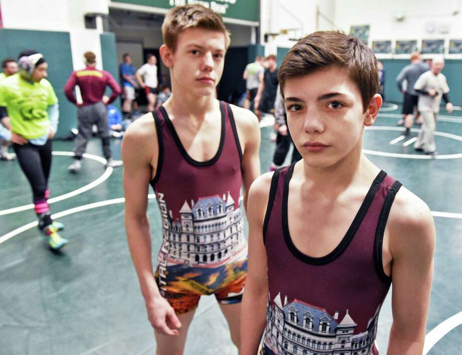 Maple Hill wrestlers and brothers Trent, left, and Caleb Svingala during Section II practice Thursday Feb. 16, 2017 in Clifton Park, NY.  (John Carl D'Annibale / Times Union) Photo: John Carl D'Annibale / 20039694A