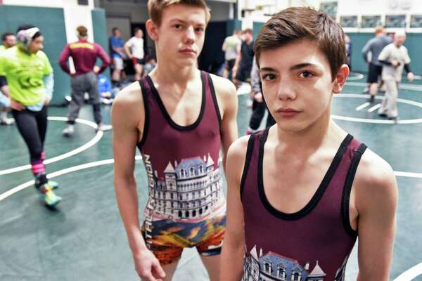 Maple Hill wrestlers and brothers Trent, left, and Caleb Svingala during Section II practice Thursday Feb. 16, 2017 in Clifton Park, NY.  (John Carl D'Annibale / Times Union)