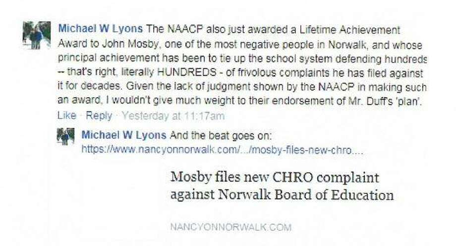 Board of Education Chairman Mike Lyons' Facebook comments (pictured) led the Norwalk chapter of the NAACP to call for his resignation at the board's Feb. 21 meeting. Photo: Contributed /