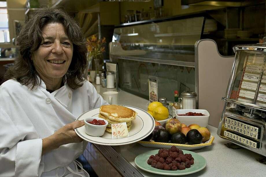 Bette Kroening, of Bette's Oceanview Diner, shows off her lemon-ricotta pancakes in 2005. Photo: O'Hara, John, SFC