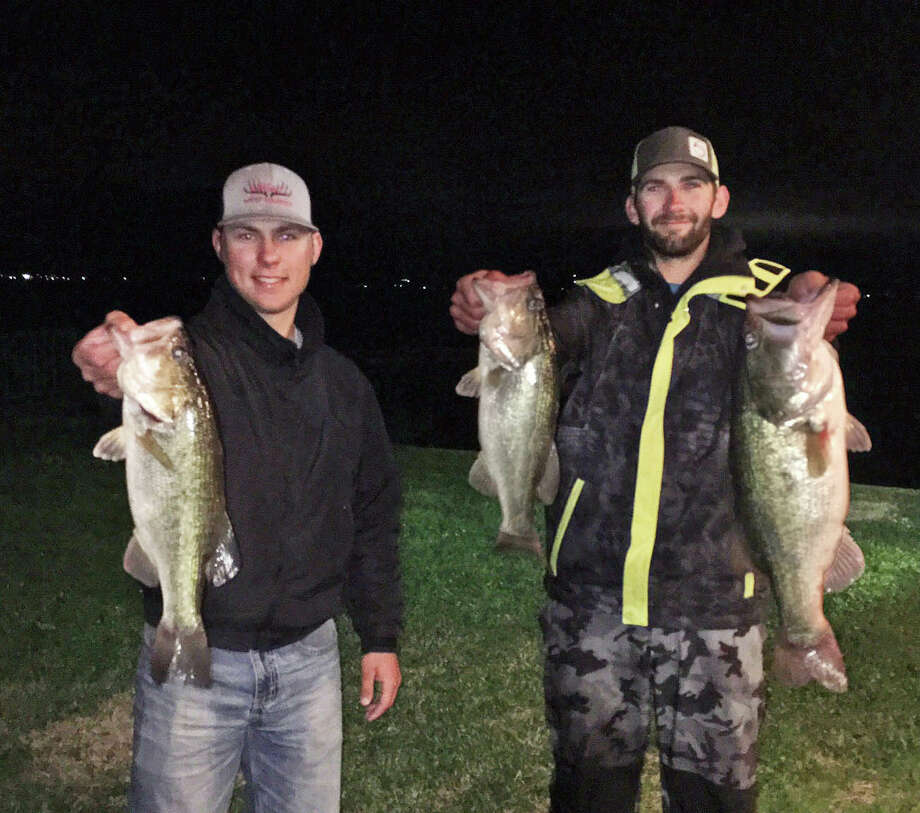 Kyle Paskett and Colby Bryant came in third place in the CONROEBASS Tuesday Night Tournament with a stringer weight of 13.03 pounds. Photo: Conroe Bass